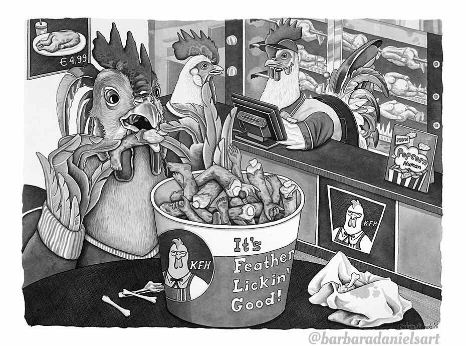 Если бы люди и животные поменялись местами (66 иллюстраций Барбары Дэниелс о нашем обществе)